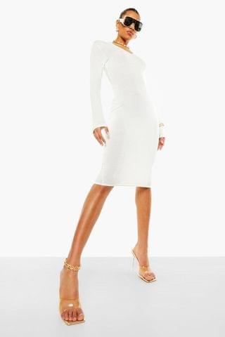 WOMEN Notch Neck Long Sleeve Midi Dress