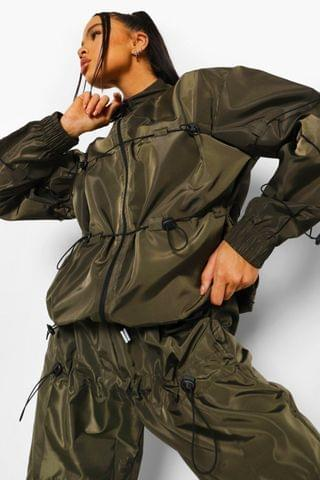 WOMEN Bungy Cord Detail Bomber Jacket