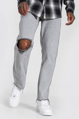 MEN Straight Leg Exploded Knee Frayed Hem Jean