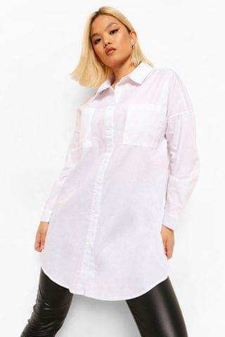 WOMEN Petite Oversized Boyfriend White Shirt