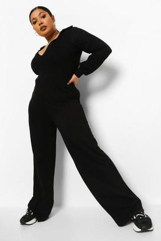 WOMEN Plus Button Front Wide Leg Jumpsuit