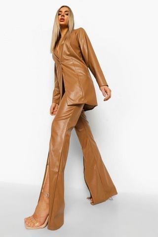 WOMEN Leather Look Split Front Wide Leg Trousers