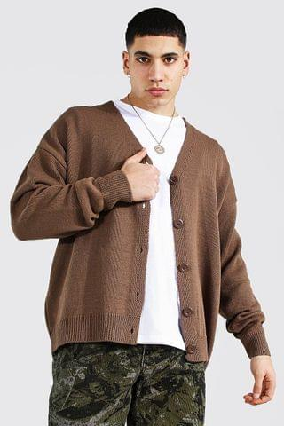 MEN Oversized Button Through Knitted Cardigan