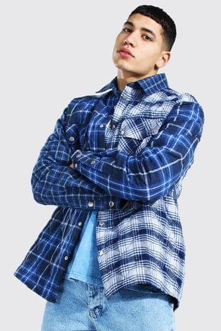 MEN Quilted Spliced Check Overshirt