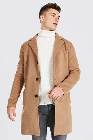 MEN Single Breasted Wool Mix Overcoat