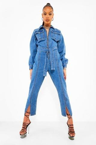 WOMEN Volume Sleeve Split Hem Denim Jumpsuit