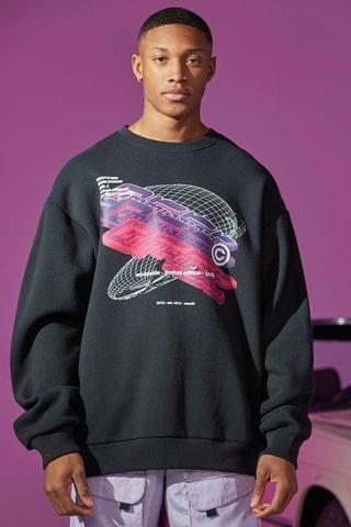 MEN Oversized Digital Front And Back Print Sweater