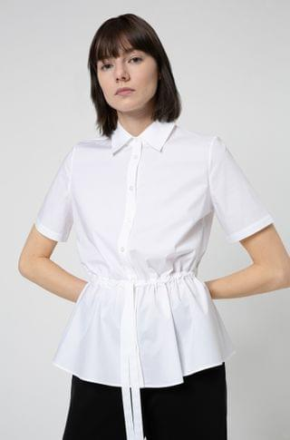 WOMEN Short-sleeved blouse in stretch cotton with adjustable waist