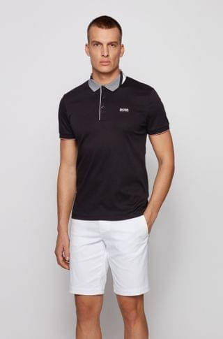 MEN Slim-fit polo shirt in cotton with patterned collar