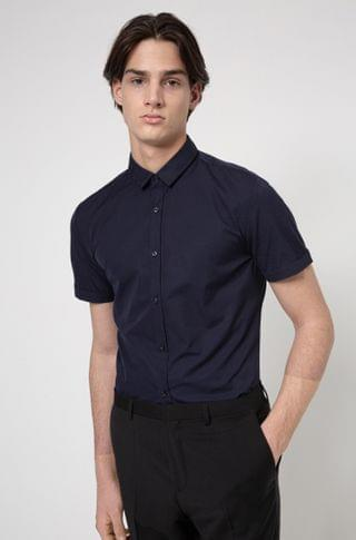 MEN Cotton extra-slim-fit shirt with red logo label