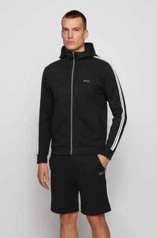 MEN Cotton-blend tracksuit with shorts and zip-through hoodie