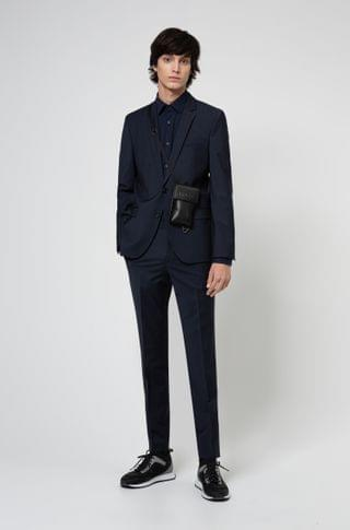 MEN Extra-slim-fit suit in a super-flex wool blend