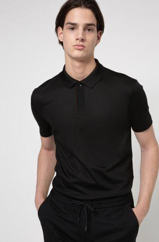 MEN Cotton-blend polo shirt with covered placket