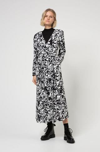 WOMEN Wrap-effect midi dress with all-over cherry-blossom print