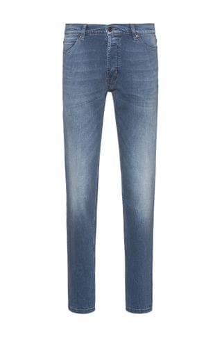 MEN Tapered-fit jeans in blue used-effect stretch denim