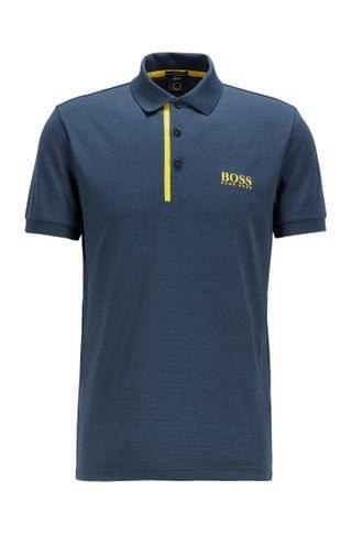 MEN Slim-fit polo shirt in melange S.Caf fabric