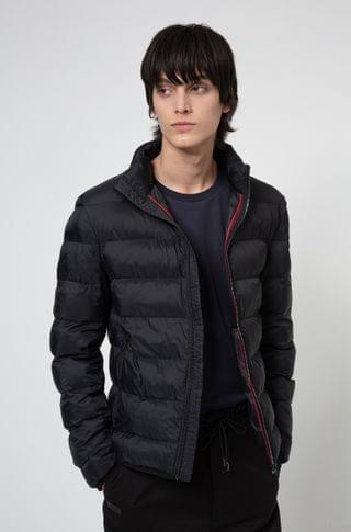 MEN Slim-fit padded jacket with reflective logo badge