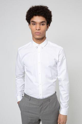 MEN Cotton extra-slim-fit shirt with collar hardware