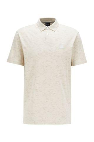 MEN Slub-print polo shirt in cotton-blend jersey