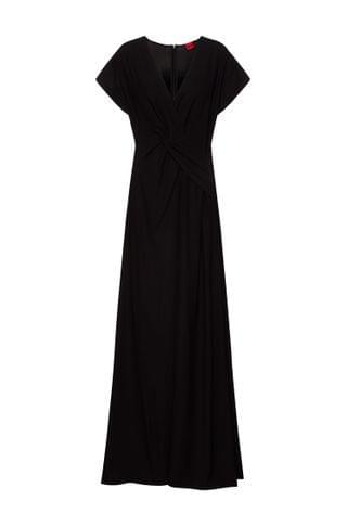 WOMEN Crepe maxi dress with knotted front