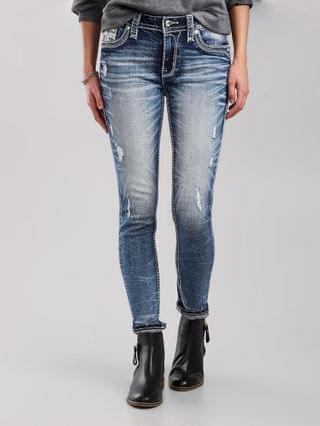 WOMEN Rock Revival Beet Red Mid-Rise Ankle Skinny Jean
