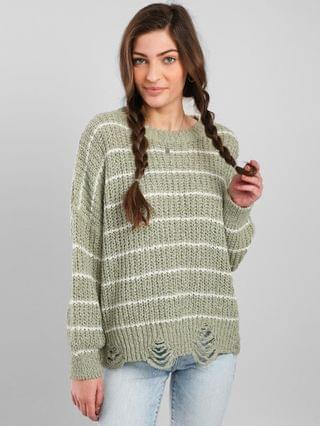 WOMEN BKE Destructed Drop Shoulder Striped Sweater
