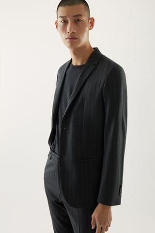 MEN SLIM-FIT WOOL PINSTRIPE BLAZER