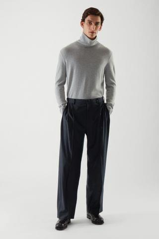 MEN PLEATED HIGH-WAIST WIDE-LEG PANTS