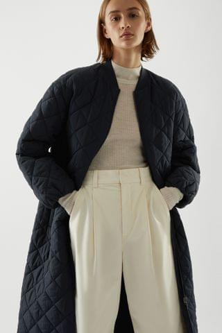 WOMEN MID-LENGTH REVERSIBLE QUILTED PADDED JACKET
