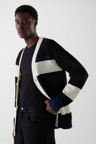 MEN COLOR-BLOCK LAMBSWOOL CARDIGAN