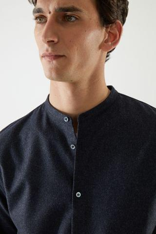 MEN FELT COLLARLESS OVERSHIRT