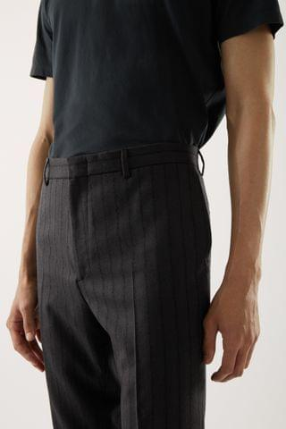 MEN SLIM WOOL PINSTRIPE PANTS