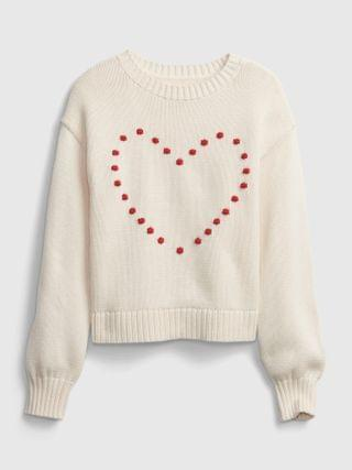 KIDS Bobble Heart Crewneck Sweater