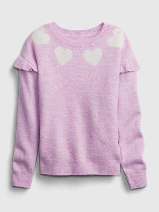 KIDS Heart Ruffle Crewneck Sweater