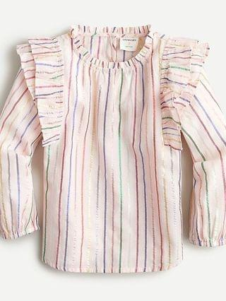 KIDS Girls' ruffle-trim shine stripe top