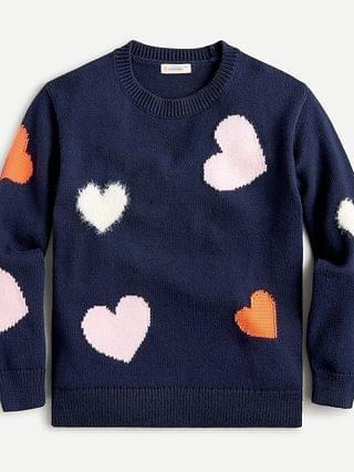KIDS Girls' colorful hearts crewneck sweater