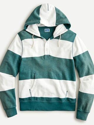 MEN Lightweight sunfaded french terry henley hoodie