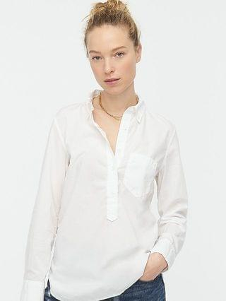 WOMEN Classic-fit washed cotton poplin popover