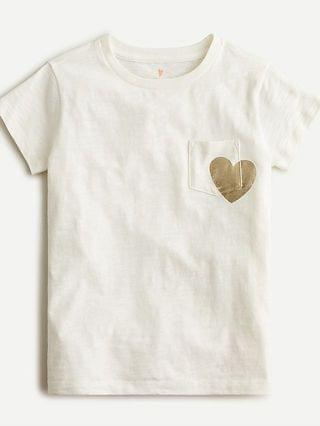 KIDS Girls' foil heart pocket T-shirt