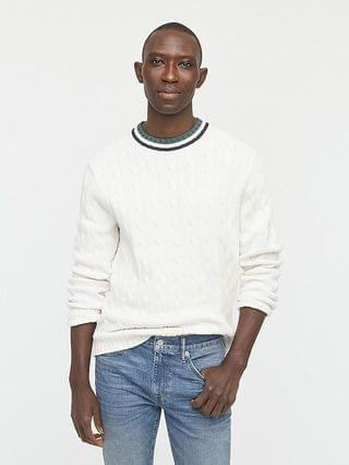 MEN Cotton cable-knit cricket sweater
