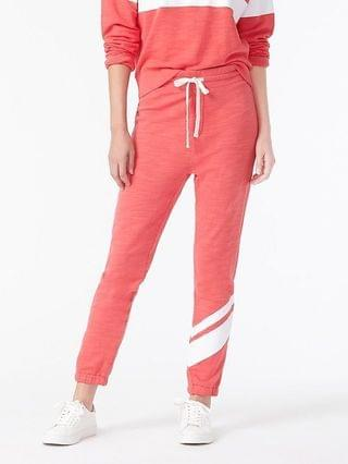 WOMEN Vintage cotton terry jogger pant with single stripe