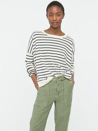 WOMEN Relaxed-fit crewneck sweater in stripe