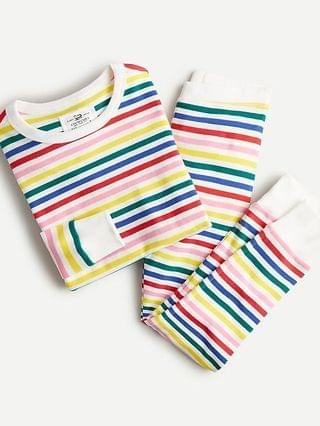 KIDS Girls' long-sleeve pajama set in rainbow stripe