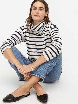 WOMEN Vintage cotton terry turtleneck in stripe