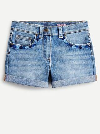 KIDS Girls' denim short with heart embroidery