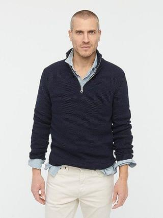 MEN Cotton half-zip sweater in rustic moss stitch