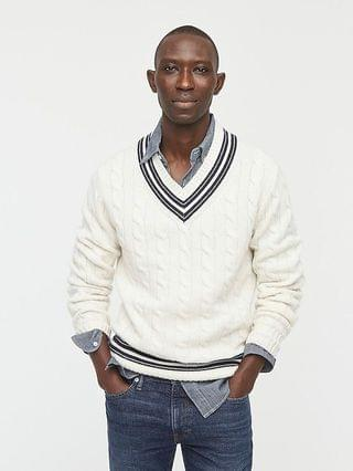 MEN Cashmere cable-knit V-neck cricket sweater