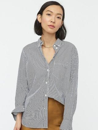 WOMEN Classic-fit washed cotton poplin shirt in stripe