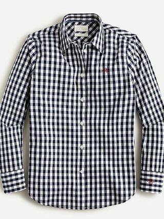 WOMEN Slim-fit stretch cotton poplin shirt in gingham