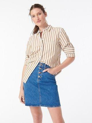 WOMEN Button-front denim skirt